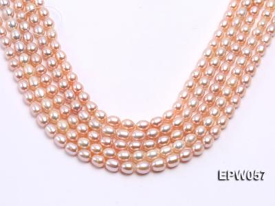 Wholesale 8x10.5mm Pink & Lavender Rice-shaped Freshwater Pearl String EPW057 Image 1
