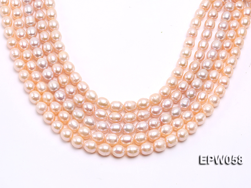 Wholesale 10x11mm White Rice-shaped Freshwater Pearl String big Image 2