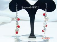 5-6mm White Rice-shaped Cultured Freshwater Pearl & Red Coral Beads Earrings FE122