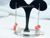 10mm White Button-shaped Freshwater Pearl & Pink Flower-shaped Coral Earrings FE123