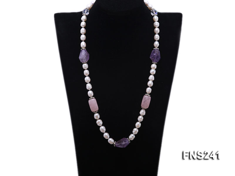 9-10mm natural white rice freshwater pearl with natural amethyst and rouse quartz single necklace big Image 1
