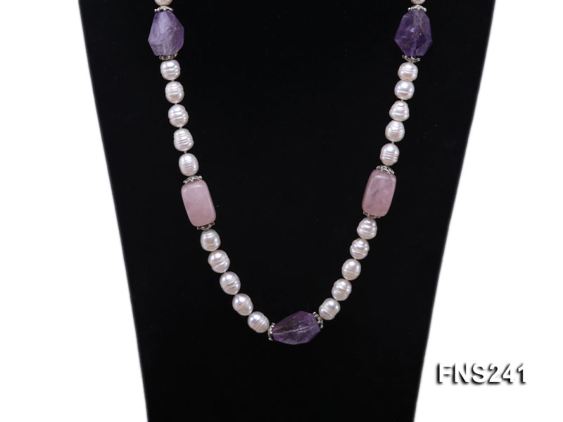 9-10mm natural white rice freshwater pearl with natural amethyst and rouse quartz single necklace big Image 2