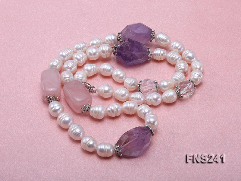 9-10mm natural white rice freshwater pearl with natural amethyst and rouse quartz single necklace big Image 3