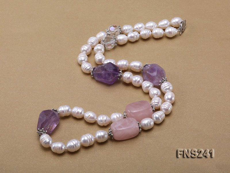 9-10mm natural white rice freshwater pearl with natural amethyst and rouse quartz single necklace big Image 4