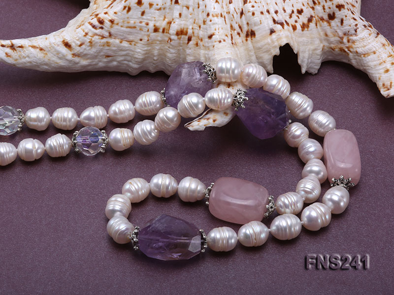 9-10mm natural white rice freshwater pearl with natural amethyst and rouse quartz single necklace big Image 5