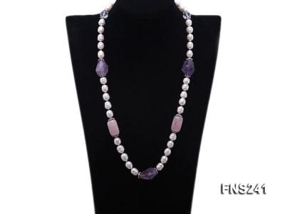 9-10mm natural white rice freshwater pearl with natural amethyst and rouse quartz single necklace FNS241 Image 1