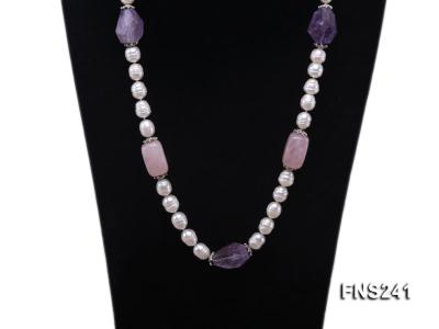 9-10mm natural white rice freshwater pearl with natural amethyst and rouse quartz single necklace FNS241 Image 2