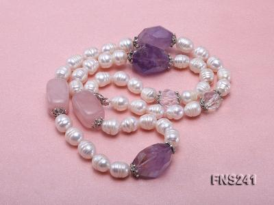 9-10mm natural white rice freshwater pearl with natural amethyst and rouse quartz single necklace FNS241 Image 3