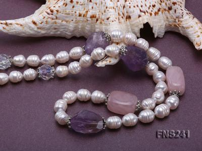 9-10mm natural white rice freshwater pearl with natural amethyst and rouse quartz single necklace FNS241 Image 5