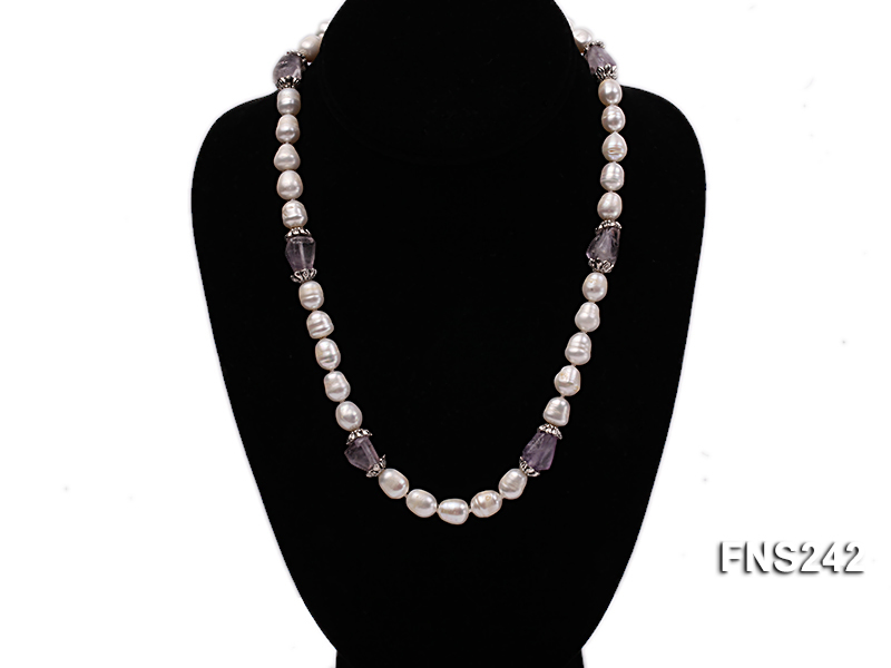 9-10mm natural white rice freshwater pearl with natural amethyst single strand necklace big Image 1