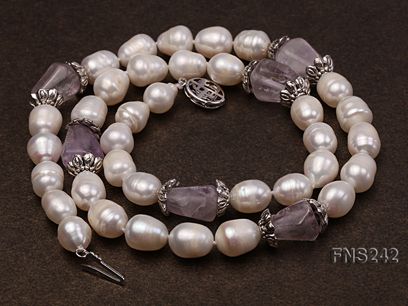 9-10mm natural white rice freshwater pearl with natural amethyst single strand necklace big Image 2