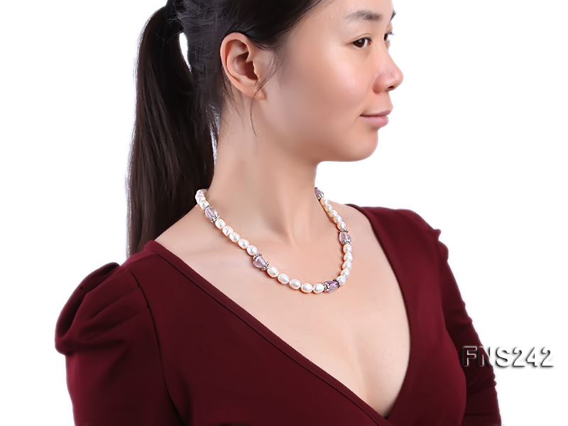 9-10mm natural white rice freshwater pearl with natural amethyst single strand necklace big Image 3