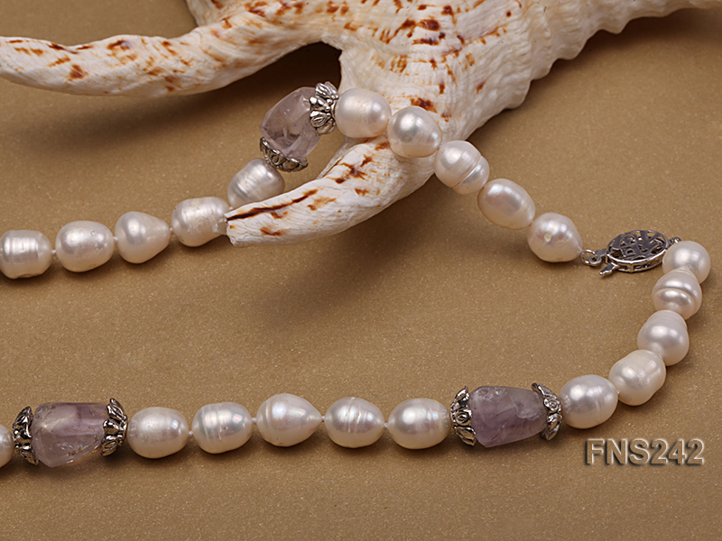9-10mm natural white rice freshwater pearl with natural amethyst single strand necklace big Image 5