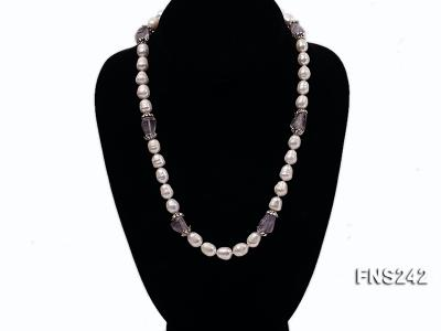 9-10mm natural white rice freshwater pearl with natural amethyst single strand necklace FNS242 Image 1