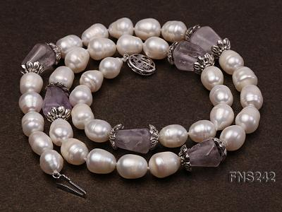 9-10mm natural white rice freshwater pearl with natural amethyst single strand necklace FNS242 Image 2