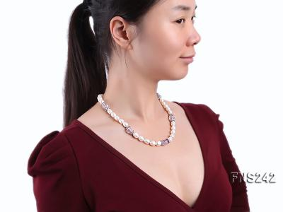 9-10mm natural white rice freshwater pearl with natural amethyst single strand necklace FNS242 Image 3
