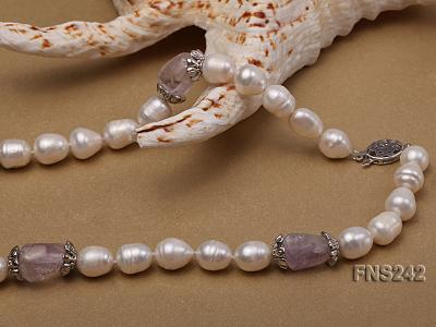 9-10mm natural white rice freshwater pearl with natural amethyst single strand necklace FNS242 Image 5