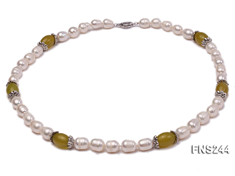 9-10mm natural white rice freshwater pearl with lemon jade beads single strand necklace big Image 1