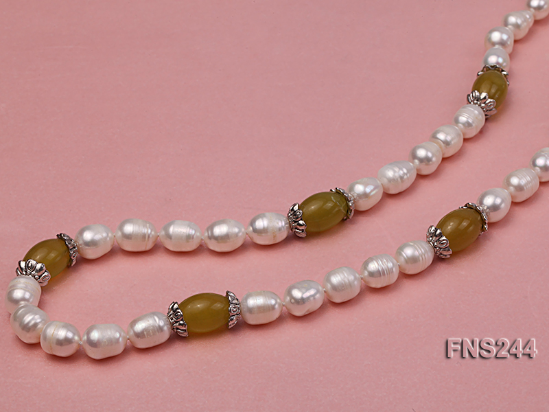 9-10mm natural white rice freshwater pearl with lemon jade beads single strand necklace big Image 2