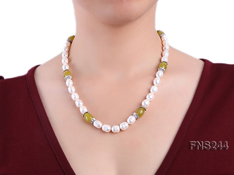9-10mm natural white rice freshwater pearl with lemon jade beads single strand necklace big Image 3