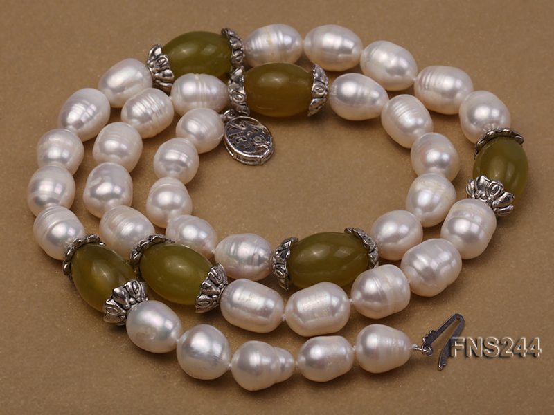 9-10mm natural white rice freshwater pearl with lemon jade beads single strand necklace big Image 4
