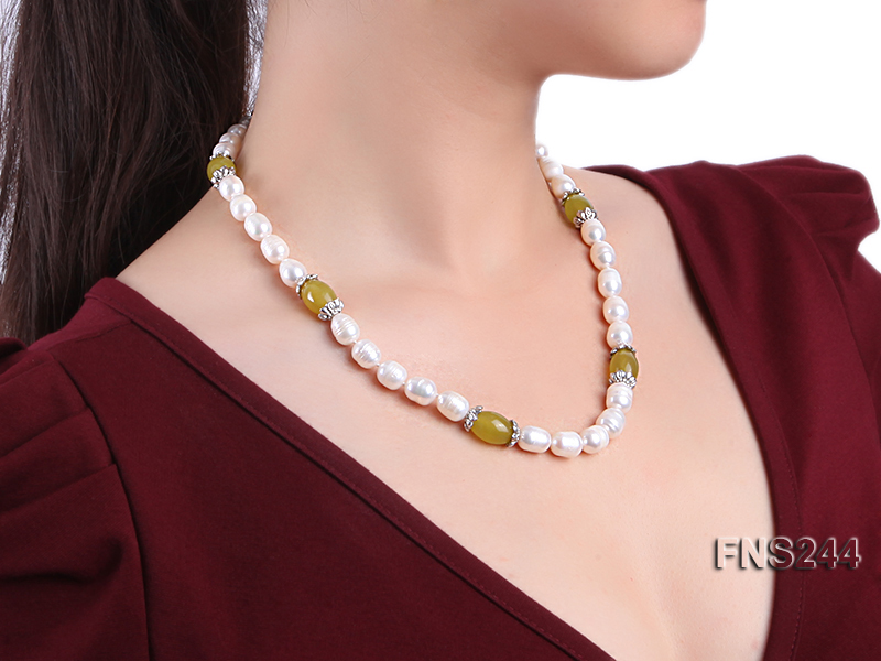 9-10mm natural white rice freshwater pearl with lemon jade beads single strand necklace big Image 5