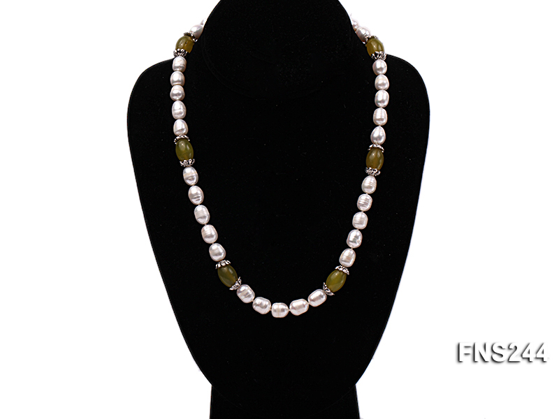 9-10mm natural white rice freshwater pearl with lemon jade beads single strand necklace big Image 7