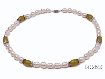 9-10mm natural white rice freshwater pearl with lemon jade beads single strand necklace FNS244 Image 1