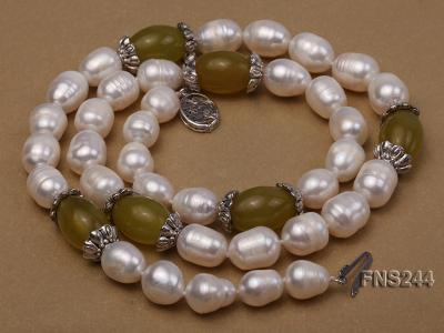 9-10mm natural white rice freshwater pearl with lemon jade beads single strand necklace FNS244 Image 4