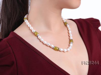 9-10mm natural white rice freshwater pearl with lemon jade beads single strand necklace FNS244 Image 5