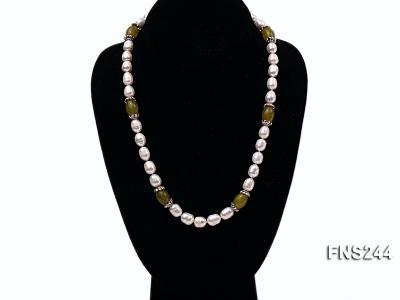 9-10mm natural white rice freshwater pearl with lemon jade beads single strand necklace FNS244 Image 7