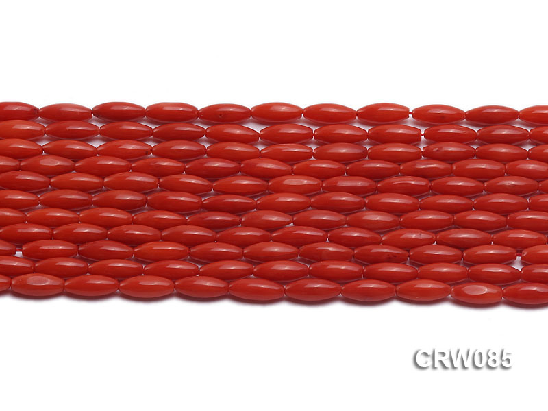 Wholesale 4x10mm Rice-shaped Red Coral Beads Loose String big Image 2