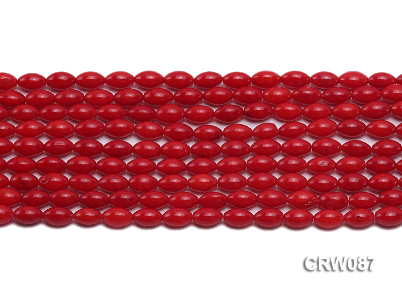Wholesale 5x8mm Rice-shaped Red Coral Beads Loose String big Image 2