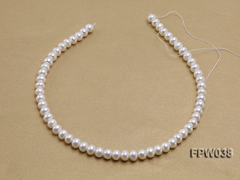Wholesale 7x9mm Classic White Flat Cultured Freshwater Pearl String big Image 3