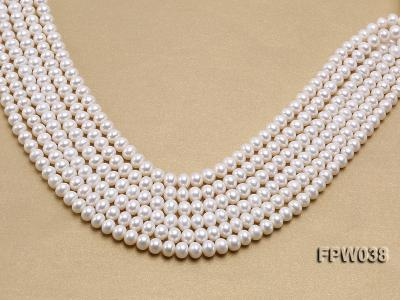 Wholesale 7x9mm Classic White Flat Cultured Freshwater Pearl String FPW038 Image 2