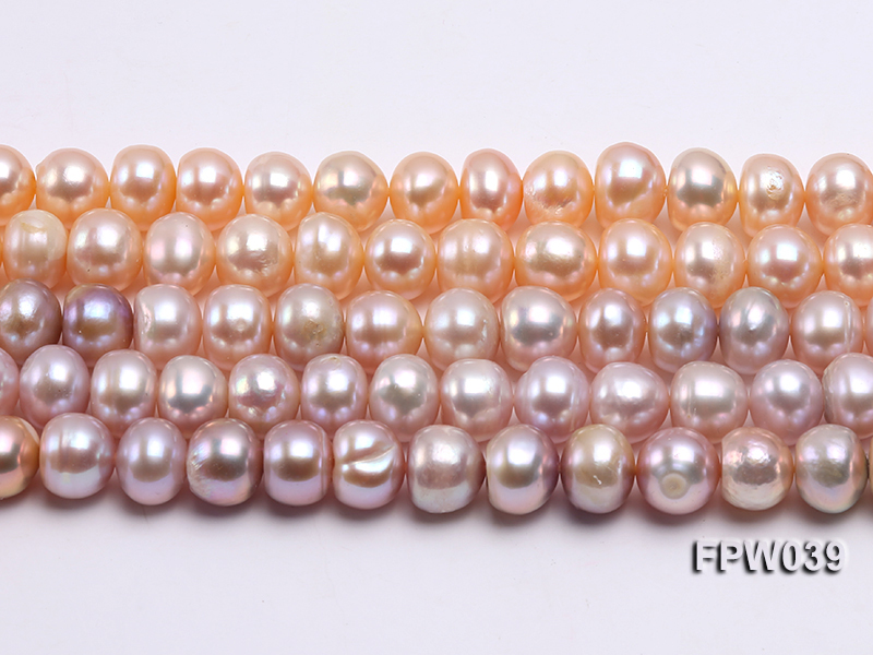 Wholesale 9x10.5mm Pink/Lavender Flat Cultured Freshwater Pearl String big Image 2