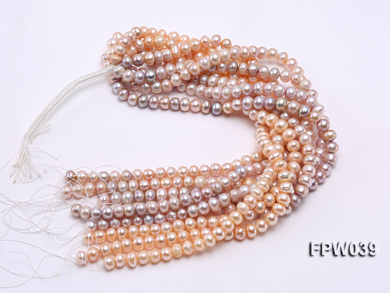 Wholesale 9x10.5mm Pink/Lavender Flat Cultured Freshwater Pearl String big Image 4