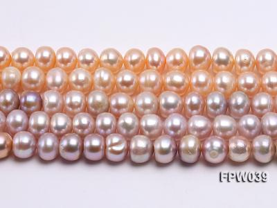 Wholesale 9x10.5mm Pink/Lavender Flat Cultured Freshwater Pearl String FPW039 Image 2