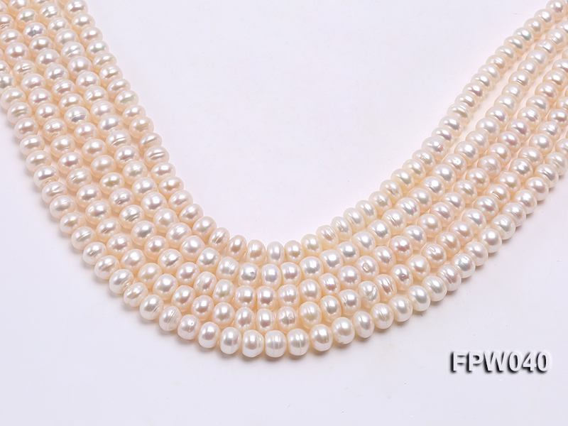 Wholesale 7x9.5mm Nice-quality Classic White Flat Freshwater Pearl String big Image 2