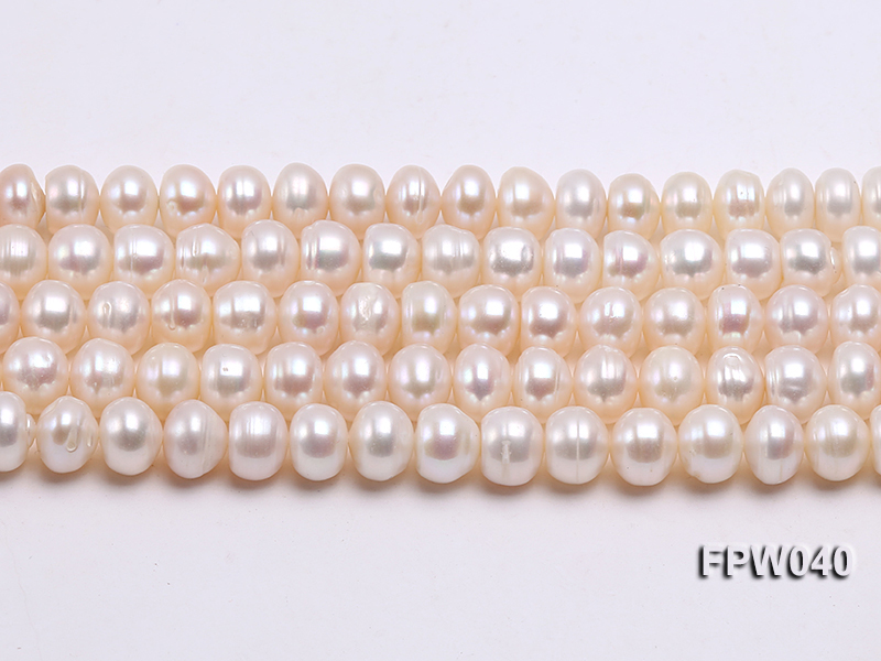 Wholesale 7x9.5mm Nice-quality Classic White Flat Freshwater Pearl String big Image 1