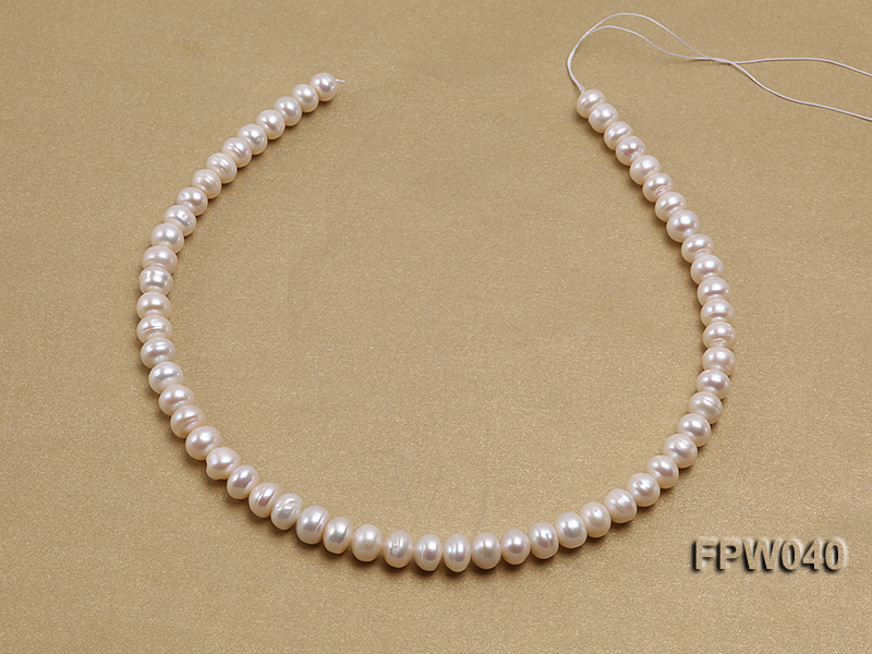 Wholesale 7x9.5mm Nice-quality Classic White Flat Freshwater Pearl String big Image 3