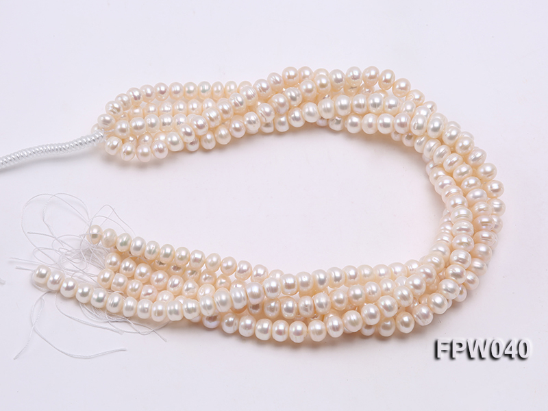 Wholesale 7x9.5mm Nice-quality Classic White Flat Freshwater Pearl String big Image 4