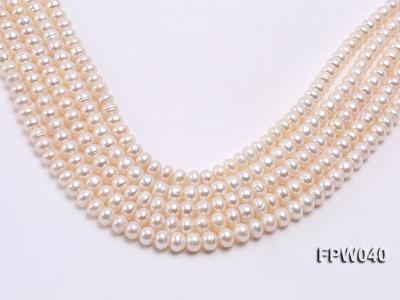 Wholesale 7x9.5mm Nice-quality Classic White Flat Freshwater Pearl String FPW040 Image 2