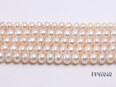 Wholesale 7x9.5mm Nice-quality Classic White Flat Freshwater Pearl String FPW040 Image 1