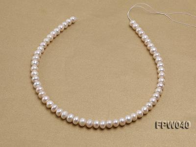 Wholesale 7x9.5mm Nice-quality Classic White Flat Freshwater Pearl String FPW040 Image 3