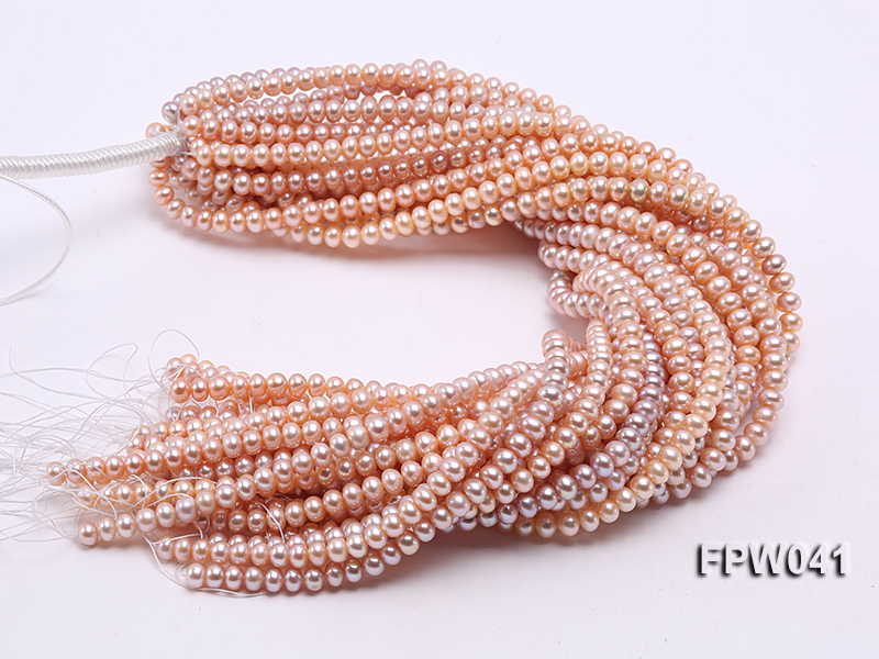 Wholesale 6x8mm Pink/Lavender Flat Cultured Freshwater Pearl String big Image 4