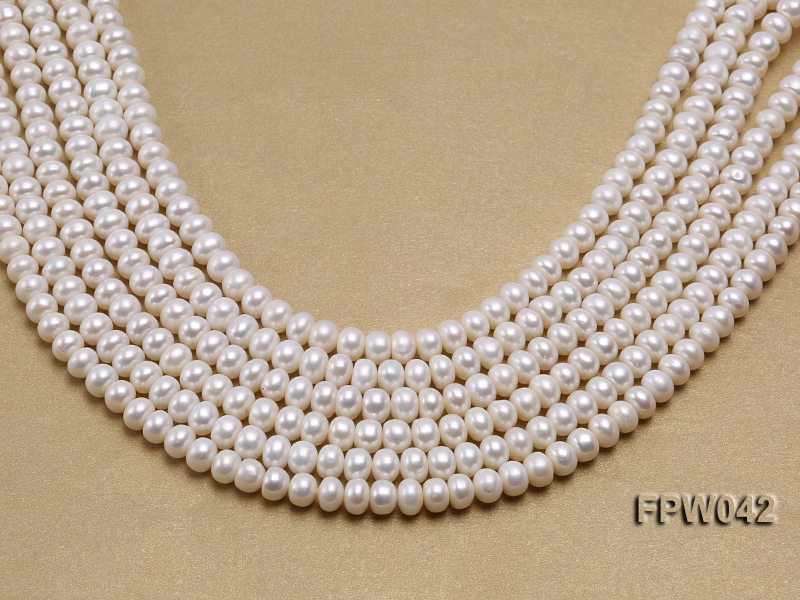 Wholesale 7x9mm White Flat Cultured Freshwater Pearl String big Image 2