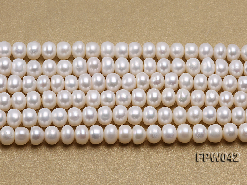Wholesale 7x9mm White Flat Cultured Freshwater Pearl String big Image 1