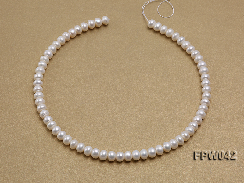 Wholesale 7x9mm White Flat Cultured Freshwater Pearl String big Image 3