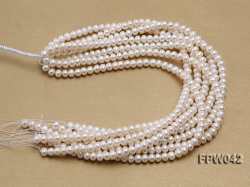 Wholesale 7x9mm White Flat Cultured Freshwater Pearl String big Image 4